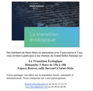 Saint-Malo (35), La transition écologique dans le grand débat national @ Espace Bouvet