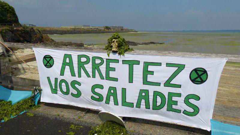 Action symbolique lors du rassemblement contre les marées vertes  Jeudi 25 juillet, plage du Valais à Saint-Brieuc