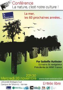 """Vannes (56), Conférence I. Autissier : """"La mer, les 60 prochaines années"""" @ Université Bretagne Sud - Campus de Tohannic"""