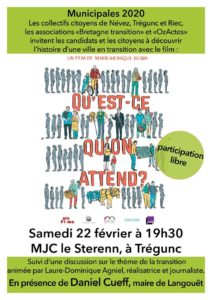 """Trégunc (29) : Ciné-Rencontre """"Qu'est-ce qu'on attend ?"""" @ MJC Le Sterenn"""